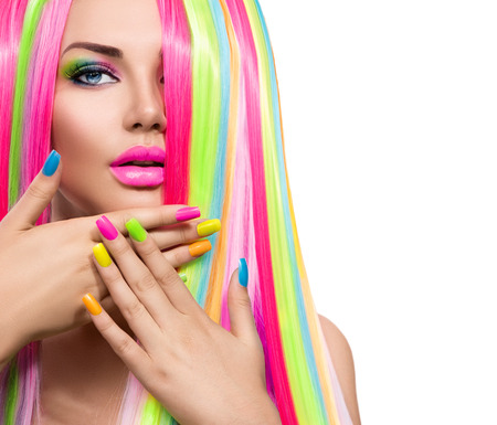 Foto de Beauty girl portrait with colorful makeup, hair and nail polish - Imagen libre de derechos