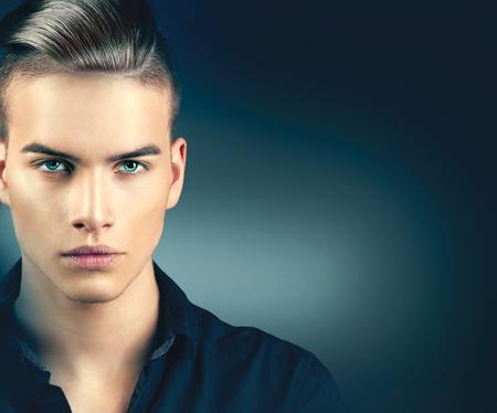 Photo pour Fashion model man portrait. Handsome guy closeup - image libre de droit