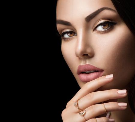 Photo pour Perfect woman lips with fashion natural beige matte lipstick makeup - image libre de droit