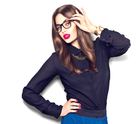 Photo for Beauty sexy fashion model girl wearing glasses, isolated on white background - Royalty Free Image