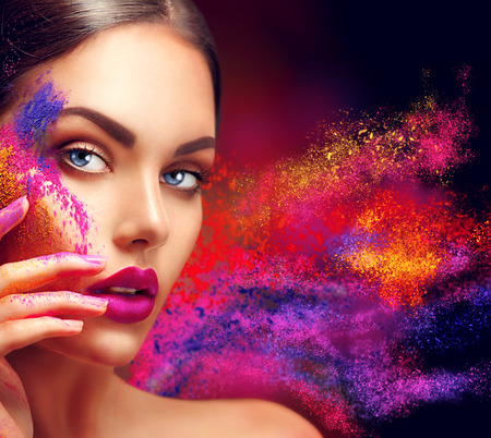 Photo for Beauty woman with bright color makeup - Royalty Free Image