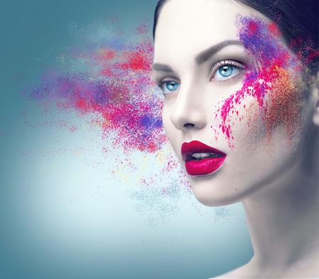 Photo pour Fashion model girl portrait with colorful powder makeup - image libre de droit