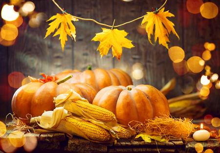Foto de Thanksgiving Day. Autumn Thanksgiving pumpkins over wooden background - Imagen libre de derechos