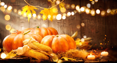 Photo for Thanksgiving Day. Autumn Thanksgiving pumpkins over wooden background - Royalty Free Image