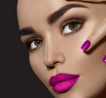 Photo for Beauty brunette woman with perfect makeup - Royalty Free Image