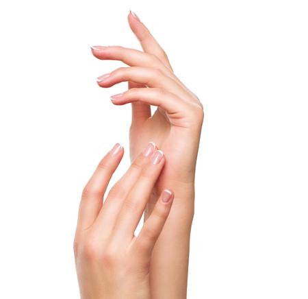 Photo pour Beautiful woman hands. Spa and manicure concept. Female hands with french manicure - image libre de droit