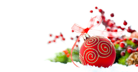 Photo pour Red Christmas and New Year decoration over white background - image libre de droit