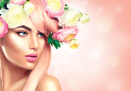 Photo for Blooming flowers wreath on woman's head. Flowers hairstyle - Royalty Free Image