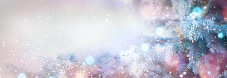 Foto de Winter tree holiday snow background. Beautiful Christmas border art design - Imagen libre de derechos