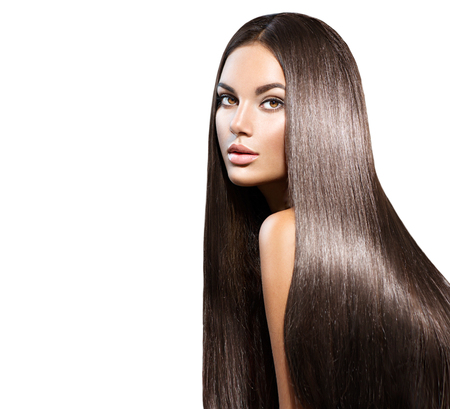 Photo pour Beautiful long hair. Beauty woman with straight black hair isolated on white - image libre de droit