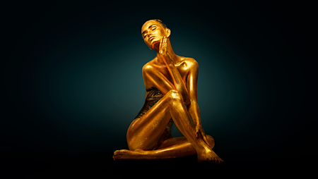 Photo for High Fashion model girl with bright golden sparkles on her body posing, full length portrait of beautiful sexy woman with glowing body skin. Art design makeup - Royalty Free Image