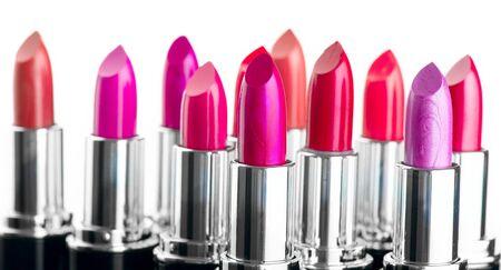 Photo pour Lipstick. Fashion Colorful Lipsticks tube isolated on white background. Lipstick tints palette, Professional Makeup and Beauty. Beautiful Make-up concept. Lipgloss. Lipsticks closeup. - image libre de droit