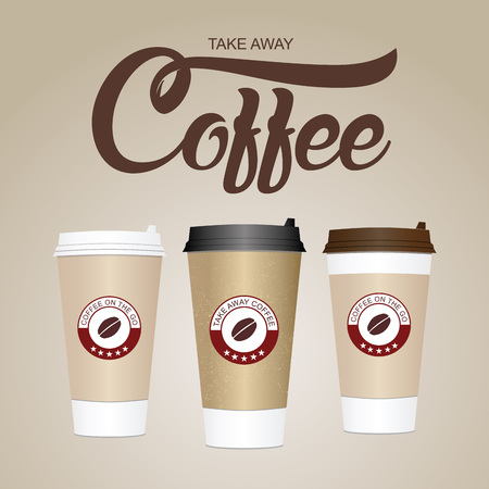Illustration pour Coffee cup. Take away paper / plastic coffee cup vector illustration. - image libre de droit