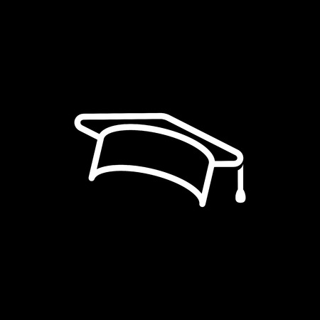 Education, graduation cap/hat icon simple vector illustration.