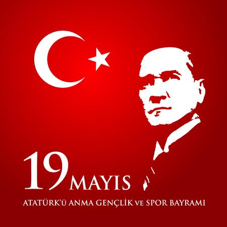 Illustration pour 19 mayis Ataturk'u anma, genclik ve spor bayrami. - image libre de droit