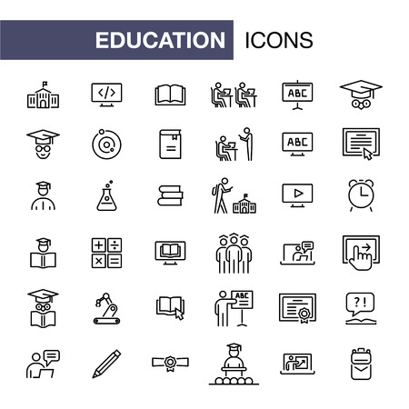 Illustration pour Education icons set simple flat style outline illustration. - image libre de droit
