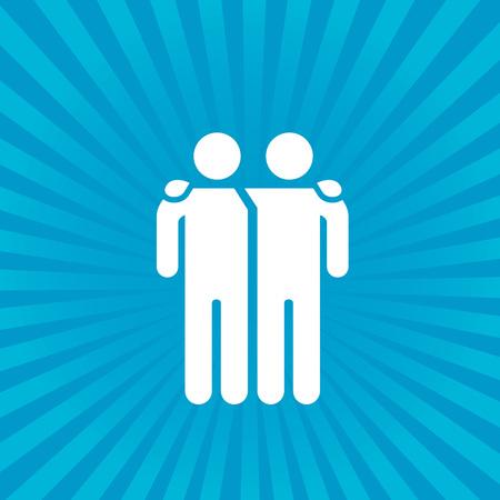 Illustration pour Friends icon vector illustration isolated on sunburst background. Friendship sign. Best friend symbol . - image libre de droit