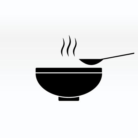 Ilustración de Soup in the bowl vector sign illustration icon symbol simple soup image. - Imagen libre de derechos