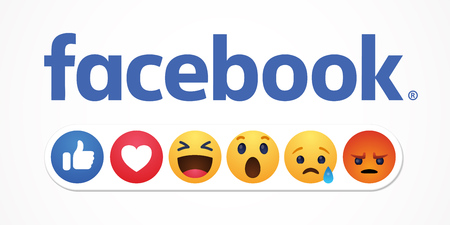 Photo pour Baku. Azerbaijan - April 23. 2019 Facebook new like reactions buttons - image libre de droit