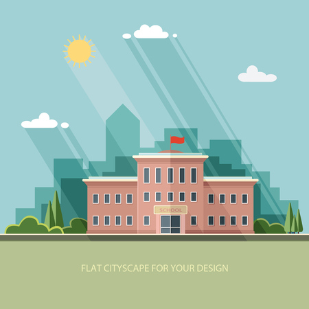 Illustration pour Welcome back to school. Building on the background of the city. Flat style vector illustration. - image libre de droit