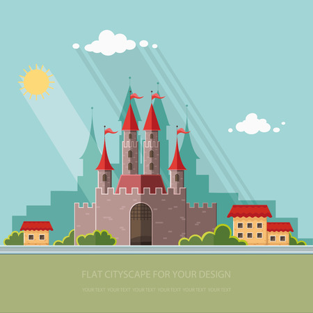 Cityscape. Medieval castle in Western Europe, on the background of the city. Vector flat illustrations