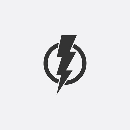 Ilustración de Lightning, electric power vector icon design element. Energy and thunder electricity symbol concept. Lightning bolt sign in the circle. Flash vector emblem template. Power fast speed icon. - Imagen libre de derechos