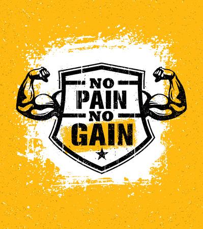 No Pain No Gain Gym Workout Motivation Quote Vector Concept Sport