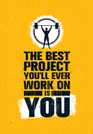 Illustration pour The Best Project You Will Ever Work On Is You. Gym Workout Inspiring Creative Motivation Quote Poster. Fit Body Concept - image libre de droit