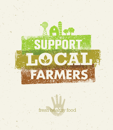 Local Food Market. From Farm To Table Creative Organic Vector Concept on Recycled Paper Background