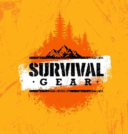 Illustration pour Survival Gear Extreme Outdoor Adventure Creative Design Element Concept On Rough Stained Background. - image libre de droit