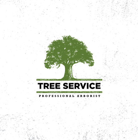 Illustration pour Professional Arborist Tree Care Service Organic Eco Sign Concept. Landscaping Design Raw Vector Illustration On Distressed Wall Background - image libre de droit