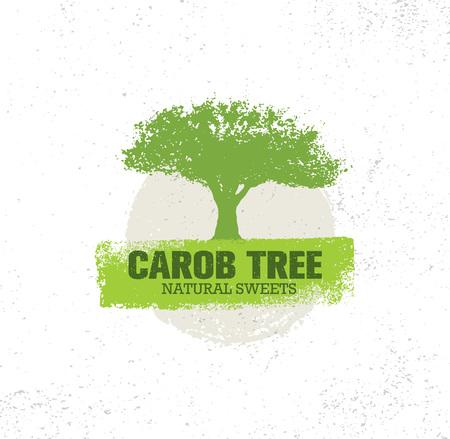 Illustration pour Carob Tree Natural Sweets Organic Food Illustration On Grunge Background - image libre de droit