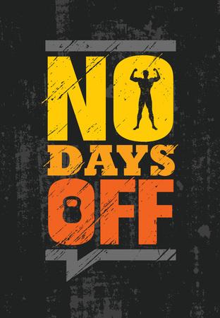 Illustration pour No Days Off. Fitness Gym Muscle Workout Motivation Quote Poster Vector Concept. - image libre de droit