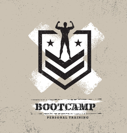 Illustration pour Fitness Body Training Extreme Sport Outdoor Bootcamp Rough Vector Concept. Creative Textured Design Elements On Distressed Grunge Background. - image libre de droit