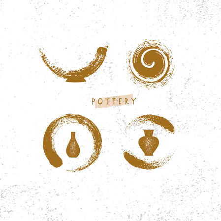 Illustration pour Handmade Clay Pottery Workshop. Artisanal Creative Craft Sign Concept. Organic Illustration On Textured Rough Background. - image libre de droit