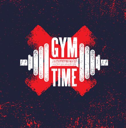 Ilustración de Gym Time. Fitness Gym Muscle Workout Motivation Quote Poster Vector Concept. Creative Bold Inspiring Typography Illustration On Grunge Texture Rough Background - Imagen libre de derechos
