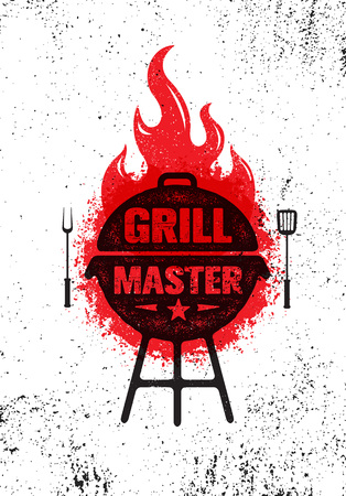 Illustration pour Grill Master Meat On Fire Barbecue Menu Vector Design Element. Outdoor Food Meal Creative Rough Sign - image libre de droit