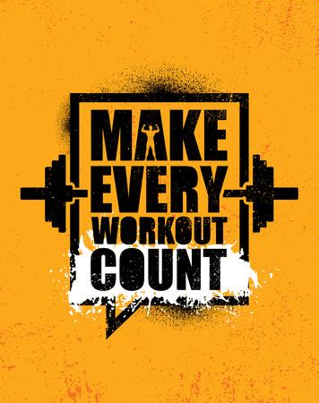 Illustration pour Make Every Workout Count. Inspiring Creative Motivation Quote Poster Template. Vector Typography Banner Design Concept - image libre de droit
