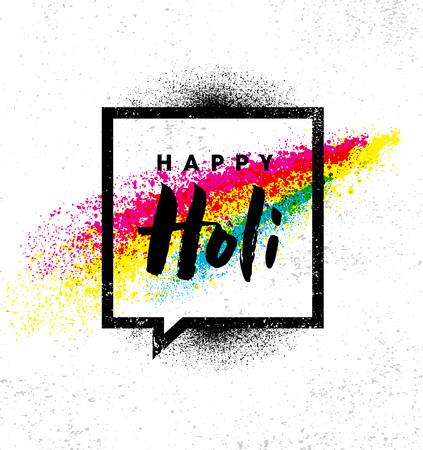 Illustration for Happy Holi. Rainbow Splash Paint Vector Brigh Rough Illustration On Textured Background - Royalty Free Image