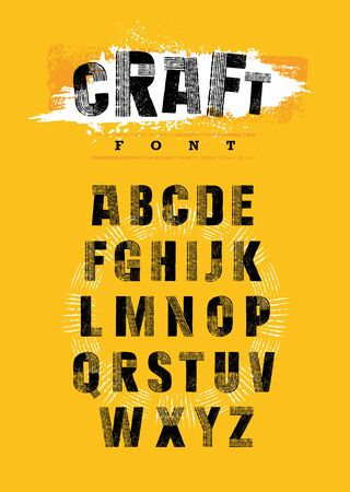 Illustration for Organic Craft Urban Farm Font. Local Farm Market Food Letters Vector Concept. Artisanal Rough Letters - Royalty Free Image