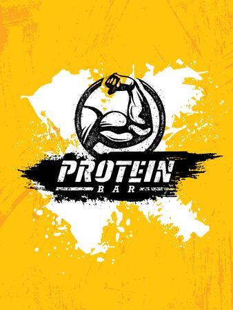 Illustration pour Protein Bar Healthy Sport Nutrition Creative Powerful Sign Vector Concept - image libre de droit