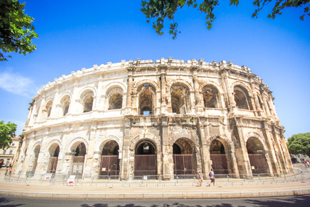 NIMES,FRANCE-July 03: Roman amphitheater in Nimes, Provence. Magnificent huge arena perfectly preserved for two thousand years on 03 July 2015.