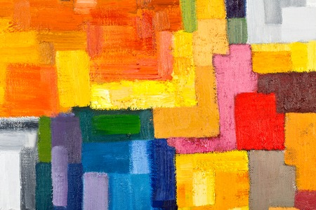 abstract texture background of an original oil geometric painting close-up fragment on canvas with brush strokes.の写真素材