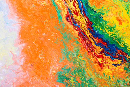 Closeup view of an original abstract oil painting on canvas.