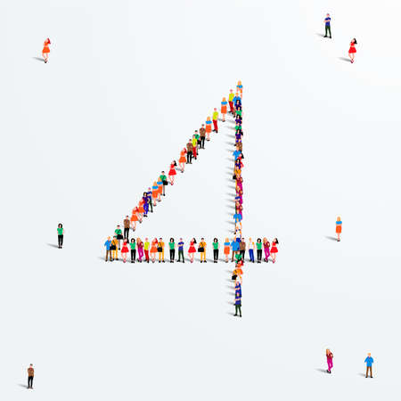 Illustration for Large group of people in number 4 four form. Vector illustration - Royalty Free Image