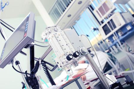 Foto de Medical equipment in the foreground of the patient - Imagen libre de derechos