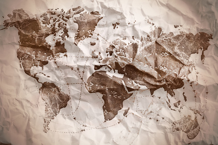 Old paper textured world map