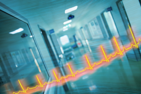 ECG line and hospital corridor, concept, of an emergency care.