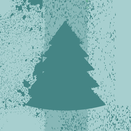 Illustration pour Christmas tree as a grunge aged illustration in green colors. Vector - image libre de droit