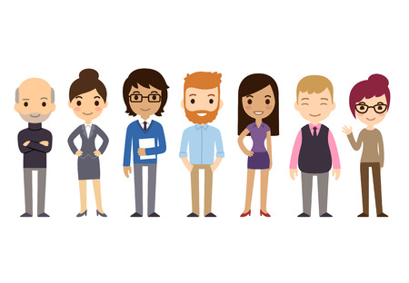 Illustration for Set of diverse business people isolated on white background.  - Royalty Free Image